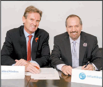 Phil Bentley, CEO, Cable & Wireless Communications, left, and Brendon Paddick, CEO and chairman of Columbus Communication