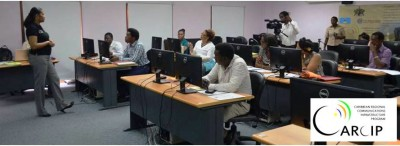 Caption: Cindy Peterson-Alfred, Business Incubator and Training Grants Manager, spearheads the workshop for the trainers of the ICT Skills Development Programme. Photo courtesy: CARCIP Saint Lucia