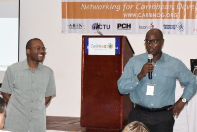 Bevil Wooding, Caribbean Outreach Manager, Packet Clearing House and Shernon Osepa, Manager of regional affairs for Latin America and the Caribbean, Internet Society at the Caribbean Network Operators Group meeting in Belize, May 2015. PHOTO: GERARD BEST